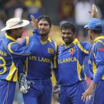 Muttiah Muralitharan celebrates a wicket