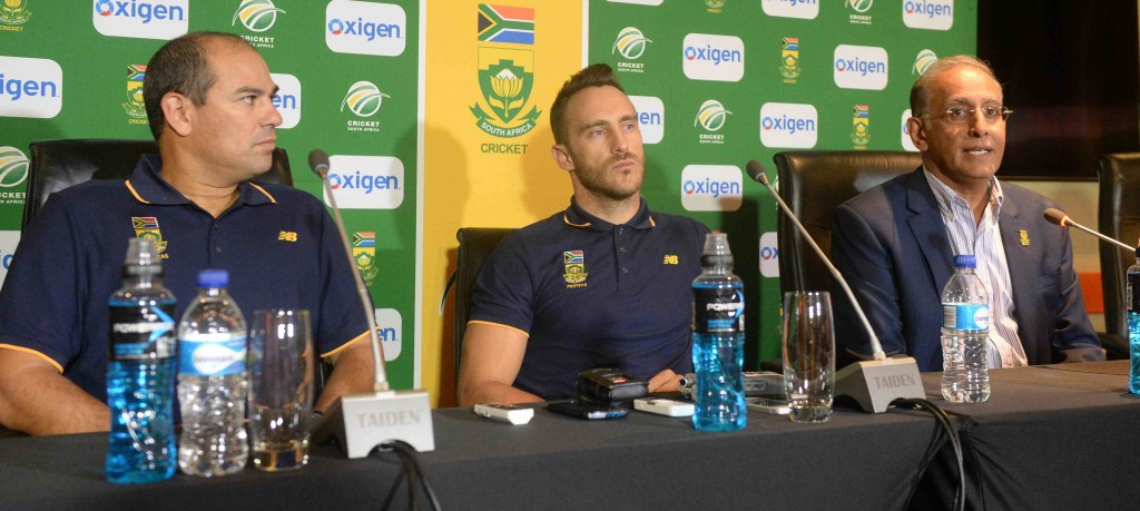 Russell Domingo, Faf du Plessis and Haroon Lorgat face the media