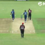 Ball goes for six off bowler's head